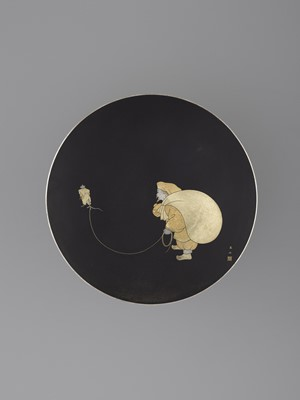 Lot 31 - A GOLD INLAID KOMAI IRON CHARGER WITH DAIKOKU AND RAT