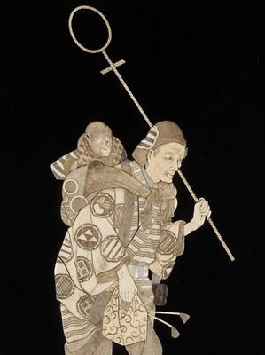 NAITO: A PAIR OF IVORY-INLAID WOOD PANELS