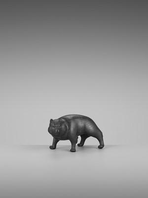 Lot 20 - SEISAI: A RARE PATINATED BRONZE OKIMONO OF A HIMALAYAN BROWN BEAR