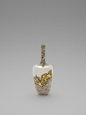Lot 35-A SPECTACULAR GOLD-INLAID 'KIRIN AND WAVES' SILVER VASE
