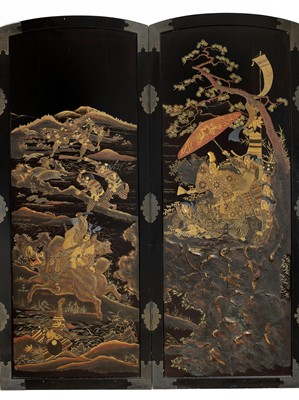 Lot 144-A MASSIVE LACQUERED WOOD SCREEN OF MINAMOTO NO YORITOMO'S BOAR HUNTING PARTY