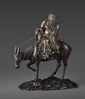 Lot 16-A SPECTACULAR AND MASSIVE PARCEL GILT BRONZE FIGURE OF TOBA SEATED ON A MULE