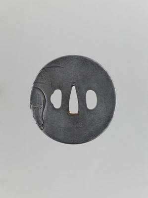 Lot 33 - A SILVERED IRON TSUBA OF HOTEI