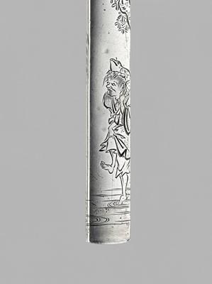 Lot 45 - YAMASHITA KARYU: A FINE SILVER KOZUKA WITH GAMA SENNIN, WITH NBTHK CERTIFICATE