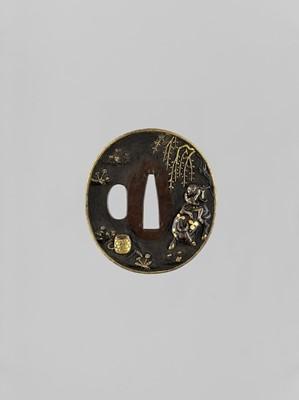 Lot 31 - A GOLD AND SILVER-INLAID SHAKUDO TSUBA WITH OX AND BOKUDO