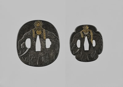 Lot 45 - YASUCHIKA: A NARA IRON DAISHO TSUBA SET WITH ELEPHANTS