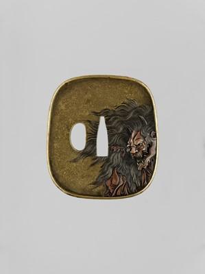 Lot 71 - GENCHIN: AN EXCEPTIONAL INLAID SENTOKU TSUBA WITH HANNYA