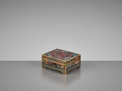 Lot 97 - TAKAHARA: A FINE CLOISONNÉ BOX AND COVER WITH A DRAGON