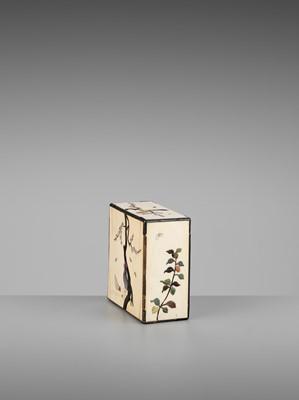 A MINIATURE SHIBAYAMA-INLAID IVORY DISPLAY CABINET