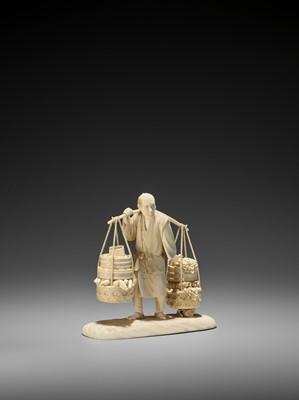Lot 157 - AN AMUSING IVORY OKIMONO OF A VEGETABLE SELLER