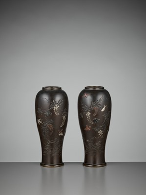Lot 8-A PAIR OF INLAID BRONZE BALUSTER VASES BY MIYABE ATSUYOSHI FOR THE HAMADA COMPANY