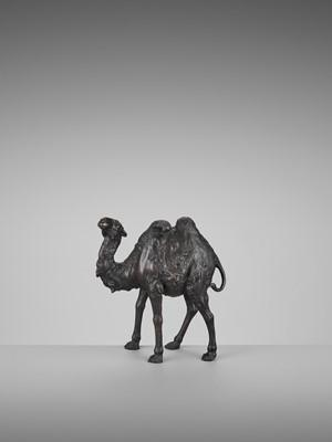 Lot 18 - GENRYUSAI SEIYA: A RARE PATINATED BRONZE OKIMONO OF A BACTRIAN CAMEL