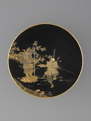 Lot 30-KOMAI: A RARE AND EXCEPTIONAL CHARGER DEPICTING SAMURAI