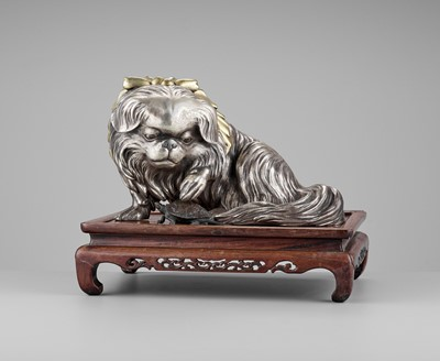 Lot 36-MARUKI COMPANY: AN EXCEPTIONAL AND LARGE PARCEL-GILT AND SILVERED OKIMONO OF A CHIN DOG