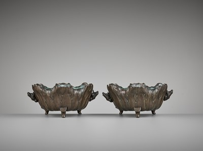 Lot 3-A PAIR OF BRONZE 'LOTUS AND FROG' WATER BASINS