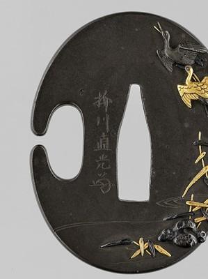Lot 39 - YANAGAWA NAOMITSU: A FINE GOLD-INLAID SHIBUICHI HAMIDASHI-TSUBA WITH FLYING CRANES