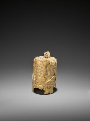 Lot 134 - SHOMIN: A FINE IVORY TUSK 'BASKETWEAVE' BOX AND COVER WITH AQUATIC ANIMALS AND CAT