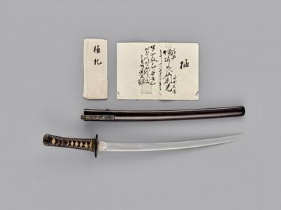 Lot 87 - NORIMITSU: A WAKIZASHI IN KOSHIRAE