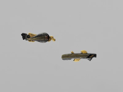 Lot 41-A FINE PAIR OF MENUKI DEPICTING MUSICAL INSTRUMENTS