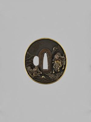 Lot 67 - KITAGAWA SOTEN: A FINE COPPER TSUBA DEPICTING THE BATTLE OF UJI