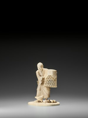 Lot 238 - MUNEHIRO: AN IVORY OKIMONO OF A MAN WITH CHICKENS