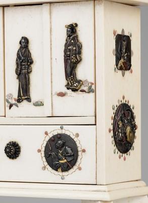 A RARE MINIATURE SHIBAYAMA AND METAL INLAID IVORY DISPLAY CABINET