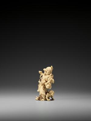 Lot 165 - MINJO: AN IVORY OKIMONO OF EBISU AND ONI