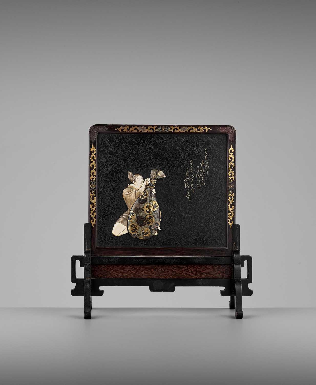 Lot 139 - SHIGEYOSHI: A MINIATURE SHIBAYAMA-INLAID WOOD STANDING SCREEN OF TAIRA TSUNEMASA