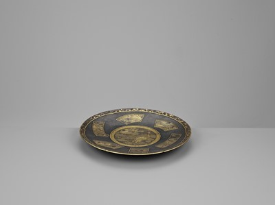 Lot 12 - ANDO KATSUAKI: A SUPERB KOMAI STYLE IRON, SILVER AND GOLD DISH