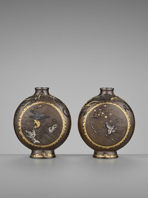 Lot 13-MIYABE ATSUYOSHI: A SUPERB PAIR OF PARCEL-GILT AND INLAID BRONZE MOON FLASKS