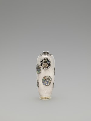 "Lot 14 - A RARE AND RETICULATED SILVER CLOISONNÉ ""VASE WITHIN A VASE"" ATTRIBUTED TO HIRATSUKA MOHEI"