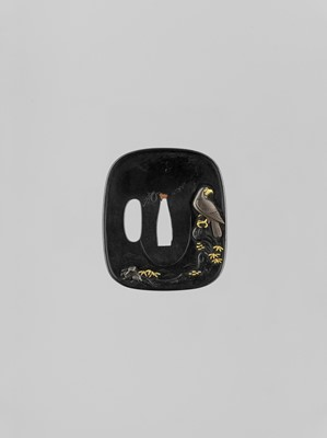 Lot 59 - A GOLD-INLAID SHIBUICHI TSUBA WITH A FALCON AND RABBIT