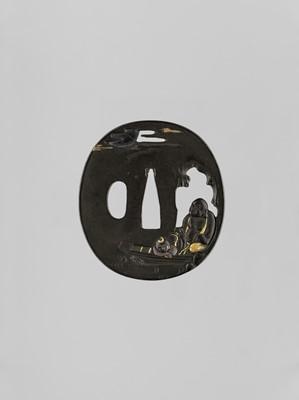 Lot 63 - TOSHIHISA: A SHIBUICHI TSUBA WITH HOTEI AND KARAKO IN A BOAT