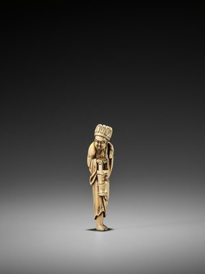 Lot 27 - A VERY RARE TALL IVORY NETSUKE OF A CHINESE DOCTOR