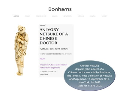 Lot 27-A VERY RARE TALL IVORY NETSUKE OF A CHINESE DOCTOR