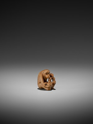Lot 40-IKKO: A FINE WOOD NETSUKE OF A MONKEY WITH YOUNG
