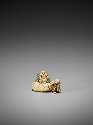 Lot 46-AN IVORY NETSUKE OF HOTEI ON HIS TREASURE BAG BEING PULLED BY A KARAKO