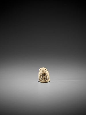 Lot 49-AN IVORY KYOTO SCHOOL NETSUKE OF TWO RATS