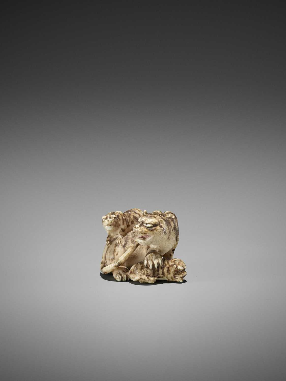 Lot 64-HAKURYU: AN IVORY NETSUKE OF A TIGER WITH TWO CUBS