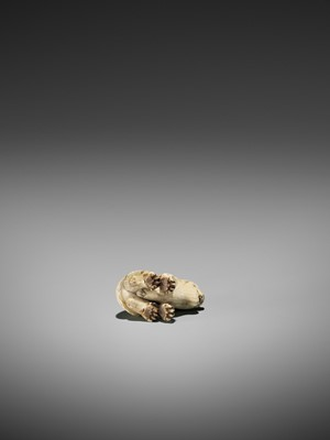 Lot 65-HAKURYU: A FINE IVORY NETSUKE OF A TIGER