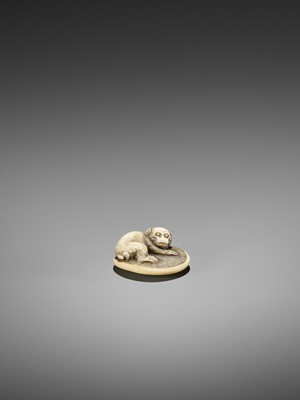 Lot 71-AN IVORY NETSUKE OF A MONKEY ON ZABUTON