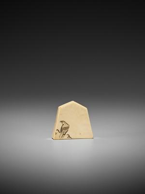 Lot 80-AN IVORY NETSUKE OF AN EMA (VOTIVE TABLET)