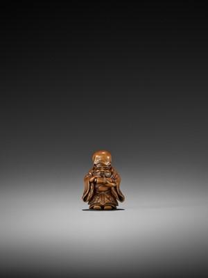 Lot 98-MEIKEISAI HOJITSU: AN EXCEPTIONAL WOOD NETSUKE OF JUROJIN