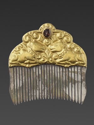 Lot 13-A CHAM GEMSTONE-SET GOLD REPOUSSÉ AND SILVER HAIR COMB WITH NANDI BULLS