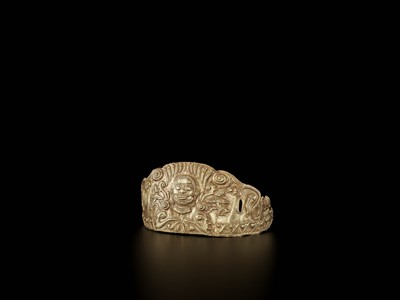 Lot 20-A CHAM GOLD REPOUSSÉ CROWN WITH SHIVA AND DANCING APSARAS