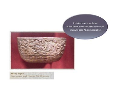 Lot 24-A VERY RARE AND FINE CHAM SILVER REPOUSSÉ BOWL WITH GARUDAS AND PHOENIXES