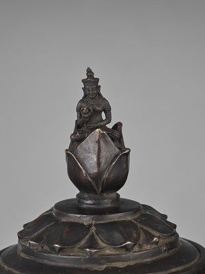 Lot 30-A HEAVY CHAM BRONZE 'LOTUS' VESSEL AND COVER
