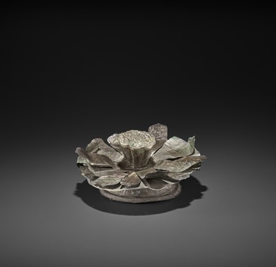 Lot 34-AN EXCEPTIONAL CHAM SILVER REPOUSSÉ 'OPEN LOTUS' RITUAL OBJECT
