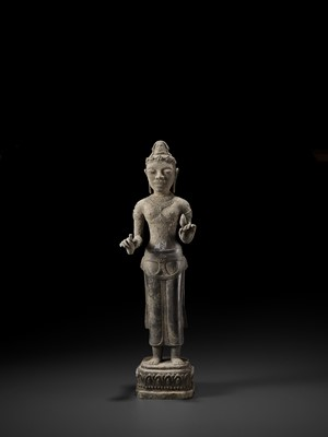 Lot 38-A RARE AND IMPORTANT SILVER ALLOY FIGURE OF AVALOKITESVARA