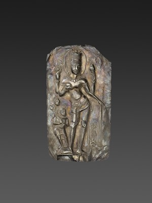 A LARGE CHAM SILVER REPOUSSÉ PLAQUE DEPICTING VISHNU AND CHILD
